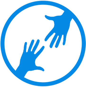 Blue Hands Reach Out in Circle